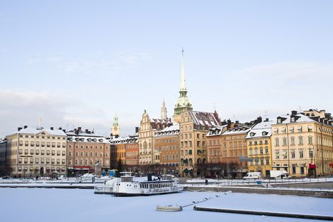 View of old town in winter