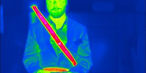 heated seat belt, as viewed through thermal imaging