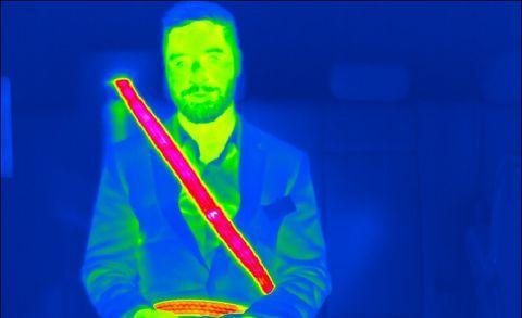 heated seat belt, as viewed through thermal imaging