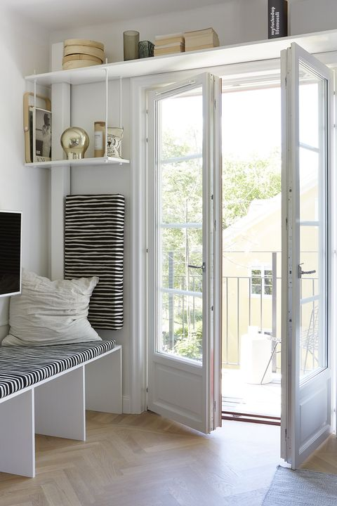 Furniture, White, Room, Floor, Interior design, Window, Door, Building, Shelf, Architecture,