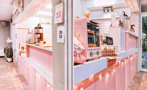 Pink, Room, Interior design, Building, Kitchen, Furniture, Peach, Countertop, Cabinetry, House,