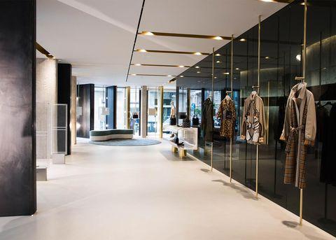 Ceiling, Interior design, Building, Lighting, Architecture, Boutique, Glass, Design, Floor, Flooring,
