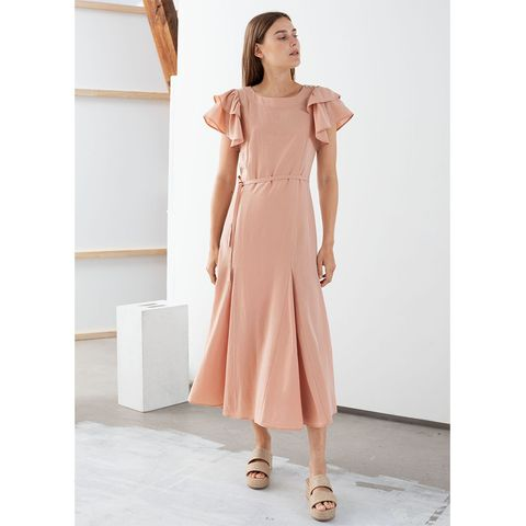 Stories Ruffled Sleeve Midi Dress