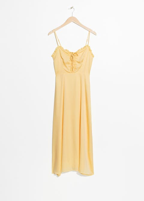 Clothing, White, Yellow, Day dress, Dress, camisoles, Neck, Sleeveless shirt, Sleeve, Outerwear,