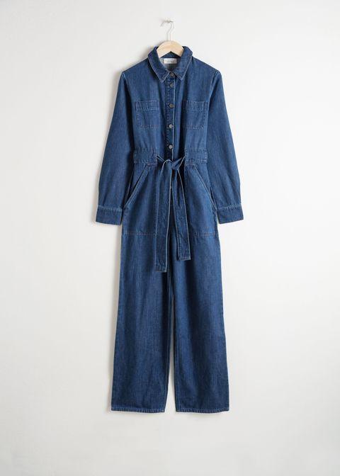 Clothing, Denim, Blue, One-piece garment, Outerwear, Sleeve, Textile, Pocket, Jeans, Dress,