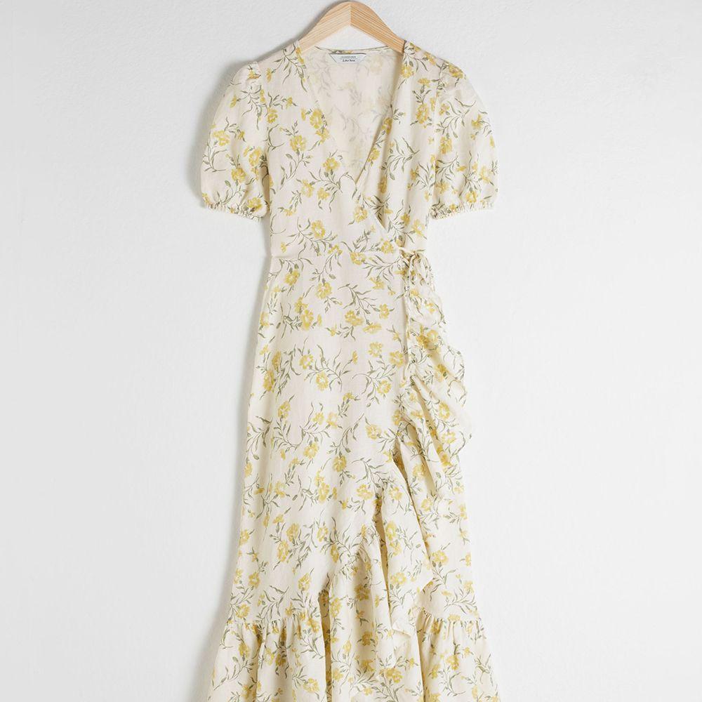 Stories Ruffled Linen Wrap Midi Dress