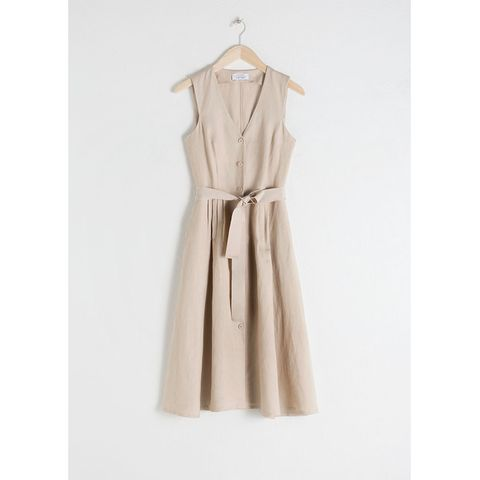 Stories Belted Linen Blend Midi Dress