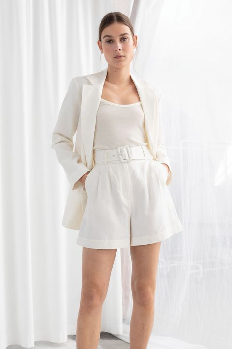 & OTHER STORIES BELTED LINEN SHORTS