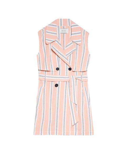 Clothing, Dress, Pink, Peach, Day dress, Sleeve, Outerwear, Beige, Neck, A-line,