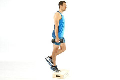 model doing straight leg calf raise