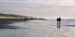Mensen maken een strandwandeling