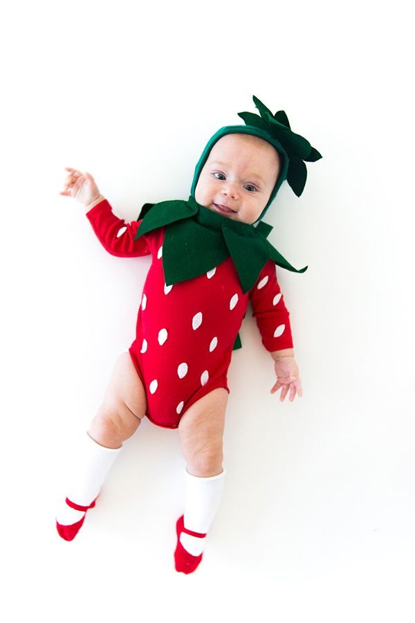 strawberry baby halloween costume  sc 1 st  Country Living Magazine & 70 Homemade Halloween Costumes for Kids - Easy DIY Kids Halloween ...