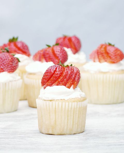 Strawberry and champagne cupcakes