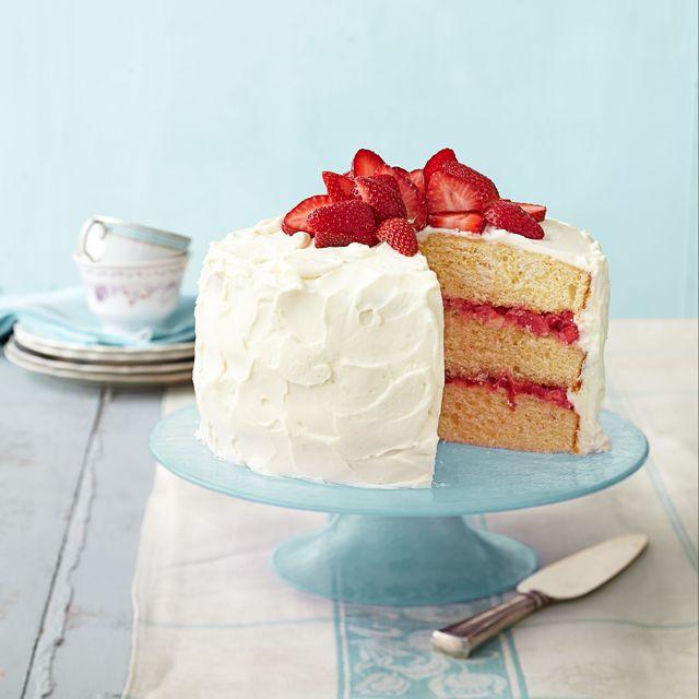 strawberry rhubarb layer cake