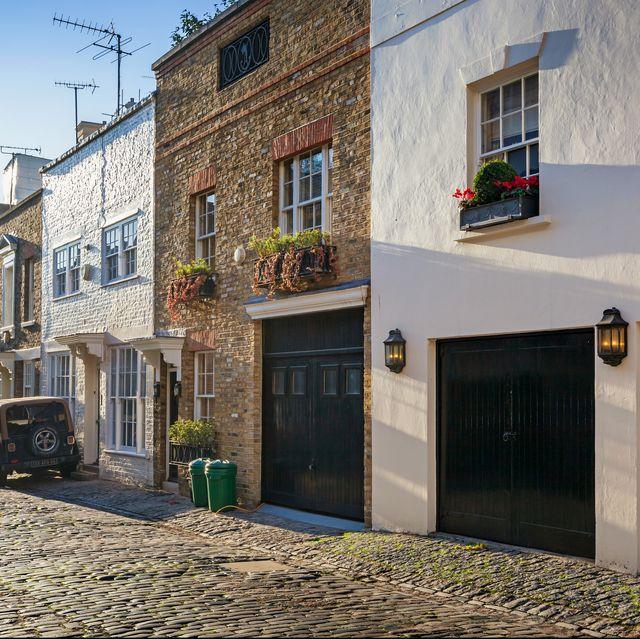 Street of mews houses in Belgravia district of London England UK
