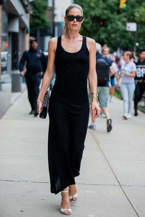 new york, new york   september 10 doutzen kroes is seen wearing black dress outside gabriela hearst during new york fashion week september 2019 on september 10, 2019 in new york city photo by christian vieriggetty images