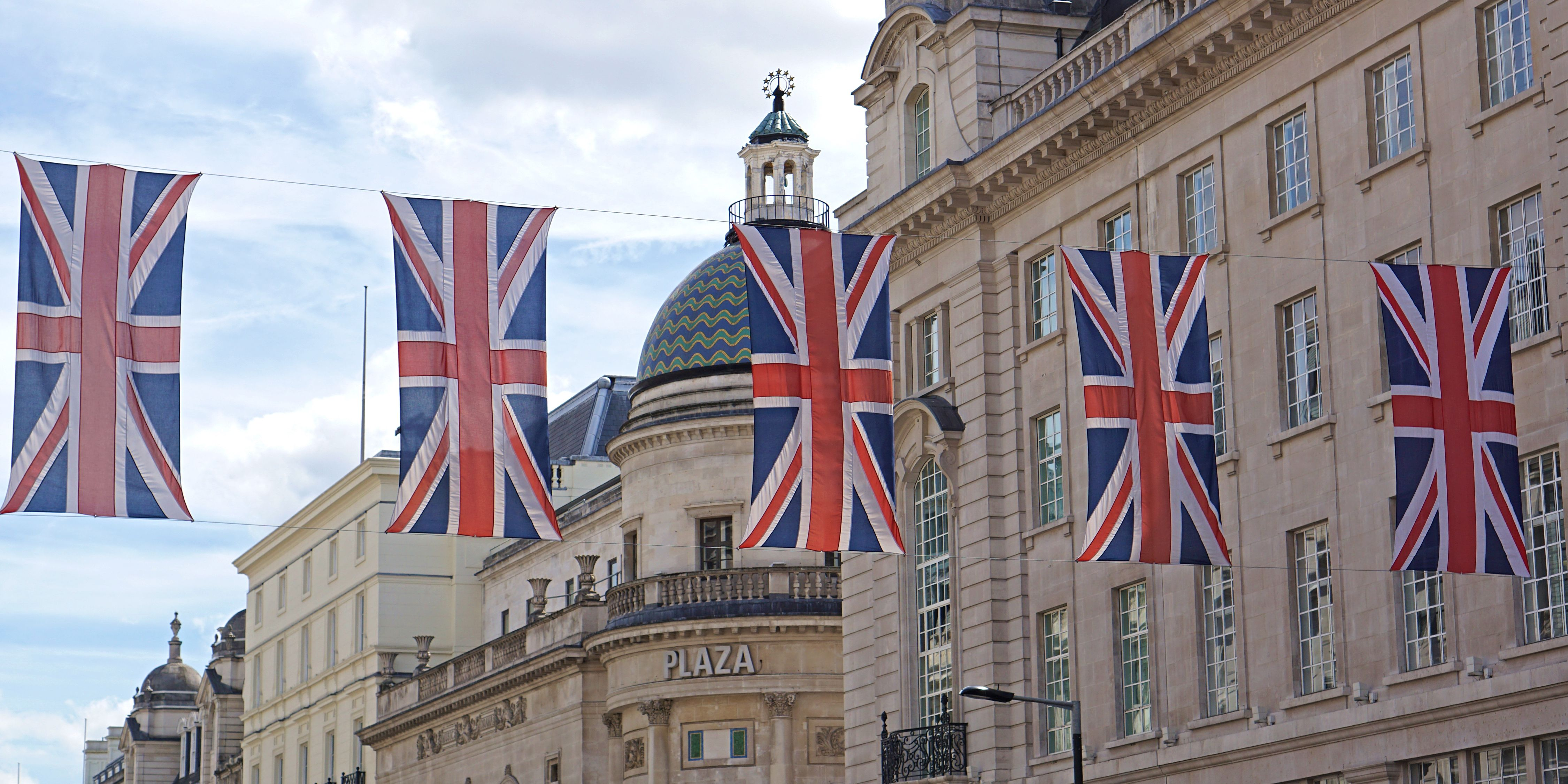String of Union Jacks, Regent Street, London