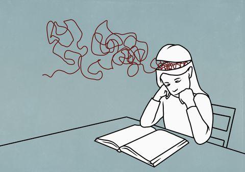 strings in brain of girl reading book