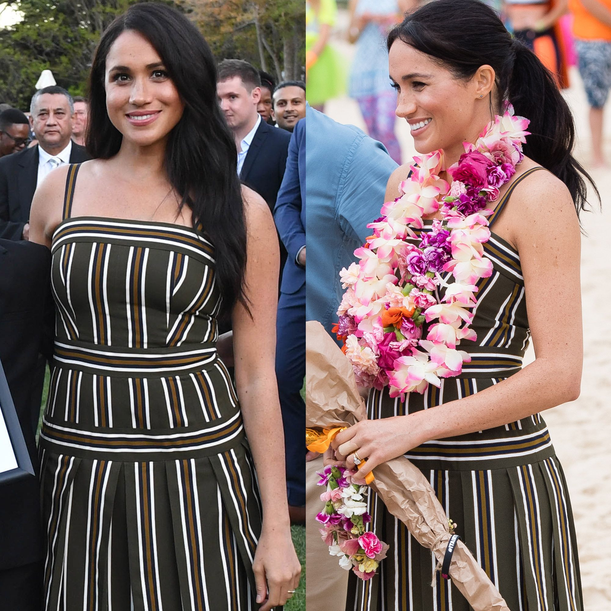 Meghan Markle Re-wears Her Striped Martin Grant Maxi Dress on the Royal Tour