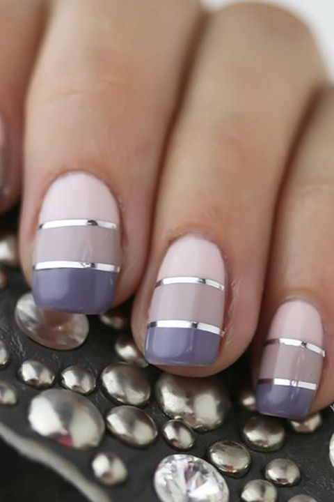 striped stunner - Best Gel Nail Design - Trendy Gel Nail Design Ideas
