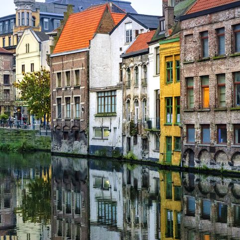 Strolling through the canals of Ghent, Ghent, Belgium