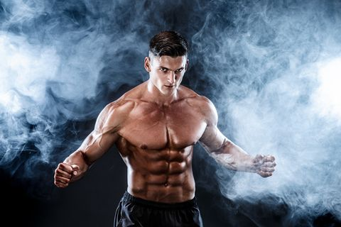 Strong Bodybuilder Man With Perfect Abs, Shoulders,Biceps, Triceps, Chest