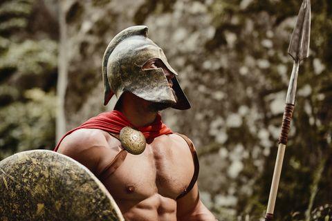 Strong Roman warrior on nature