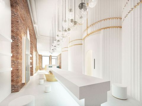 White, Interior design, Property, Room, Architecture, Building, Ceiling, Tile, Floor, Wall,