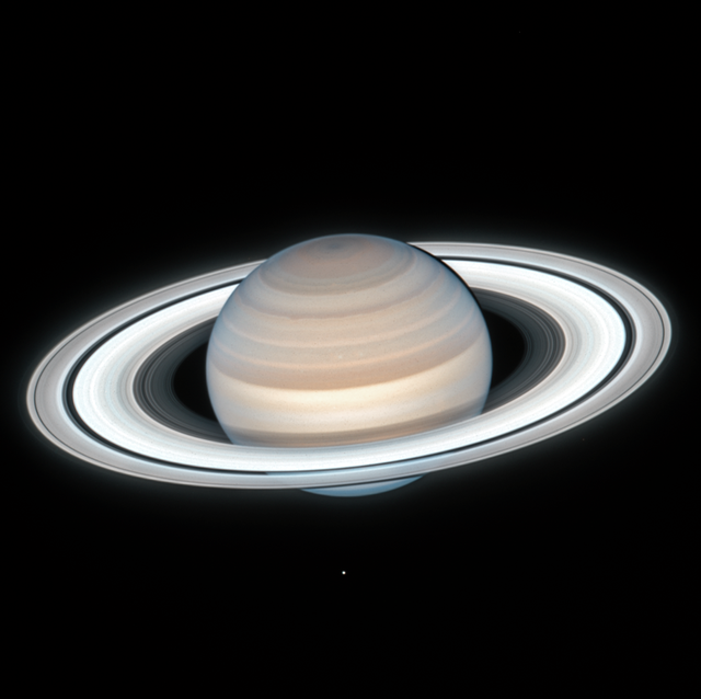 """saturn is truly the lord of the rings in this latest snapshot from nasa's hubble space telescope, taken on july 4, 2020, when the opulent giant world was 839 million miles from earth this new saturn image was taken during summer in the planet's northern hemispherehubble found a number of small atmospheric storms these are transient features that appear to come and go with each yearly hubble observation the banding in the northern hemisphere remains pronounced from hubble's 2019 observations, with several bands slightly changing color from year to year the ringed planet's atmosphere is mostly hydrogen and helium with traces of ammonia, methane, water vapor, and hydrocarbons that give it a yellowish brown colorhubble photographed a slight reddish haze over the northern hemisphere in this color composite this may be due to heating from increased sunlight, which could either change the atmospheric circulation, or perhaps remove ices from aerosols in the atmosphere another theory is that the increased sunlight in the summer months is changing the amounts of photochemical haze produced """"it's amazing that even over a few years, we're seeing seasonal changes on saturn,"""" said lead investigator amy simon of nasa's goddard space flight center in greenbelt, maryland conversely, the just now visible south pole has a blue hue, reflecting changes in saturn's winter hemispherehubble's sharp view resolves the finely etched concentric ring structure the rings are mostly made of pieces of ice, with sizes ranging from tiny grains to giant boulders just how and when the rings formed remains one of our solar system's biggest mysteries conventional wisdom is that they are as old as the planet, over 4 billion years but because the rings are so bright – like freshly fallen snow – a competing theory is that they may have formed during the age of the dinosaurs however, many astronomers agree that there is no satisfactory theory that explains how rings could have formed within just the past fe"""
