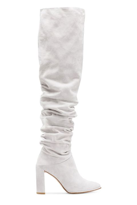 Footwear, White, Boot, Shoe, Knee-high boot, Beige, Leg, Leather, Knee, Riding boot,