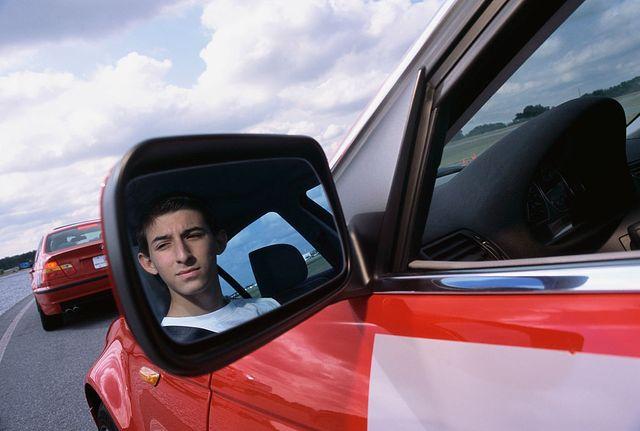 teenagers attending bmw driving school