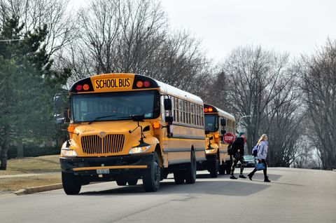 Students Exiting School Bus Near Home