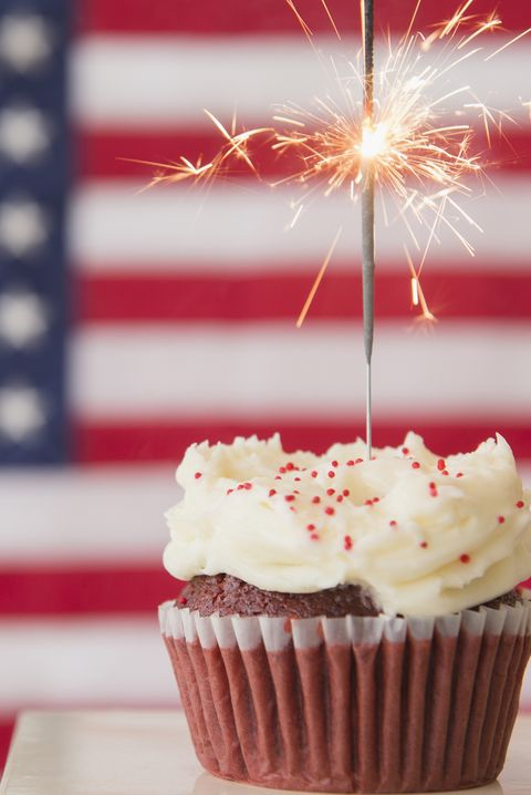fourth of july cupcake with sparkler