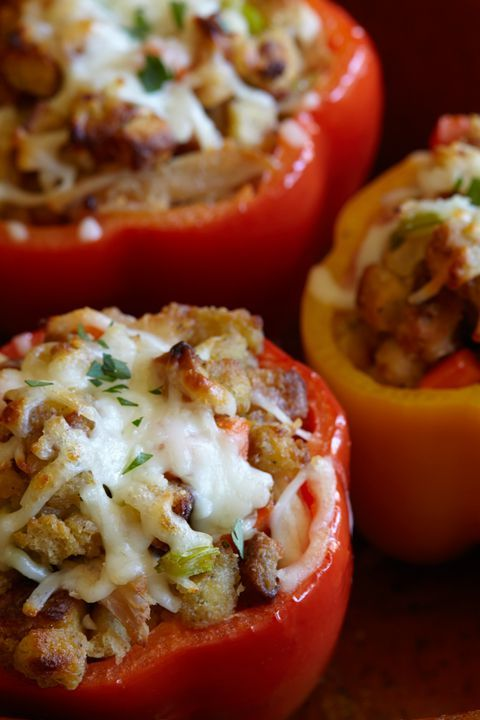 Turkey and Stuffing Stuffed Peppers - Leftover Turkey Recipes