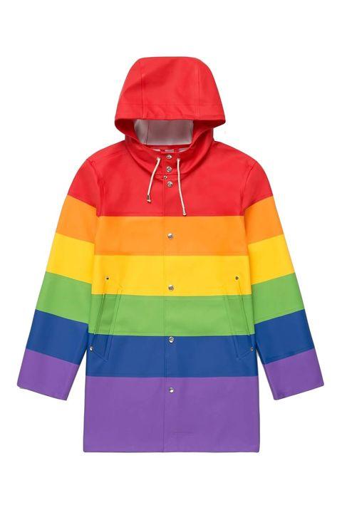 Clothing, Outerwear, Hood, Jacket, Sleeve, Yellow, Raincoat, Hoodie, Windbreaker, Electric blue,