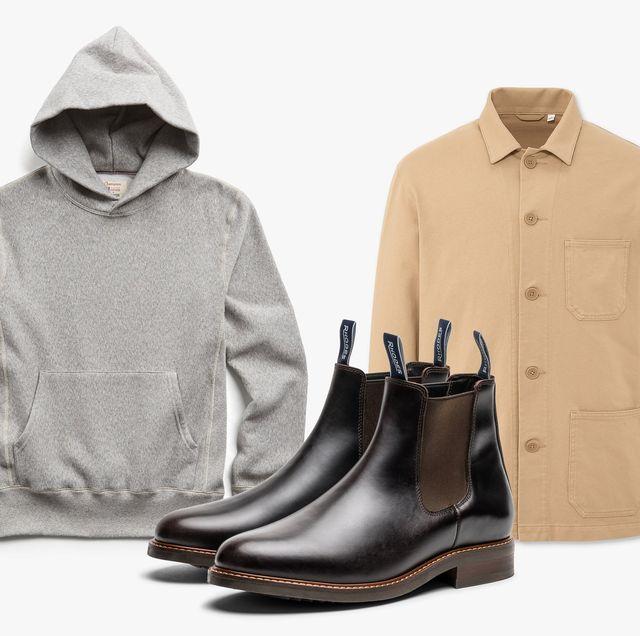 grey hoodie brown jacket brown leather boots