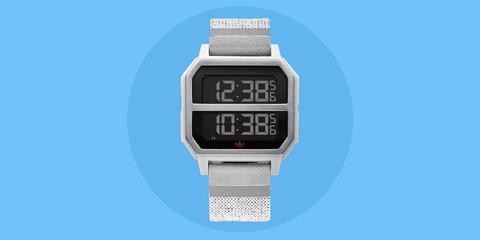Watch, Watch accessory, Digital clock, Analog watch, Fashion accessory, Strap, Timer, Rectangle,