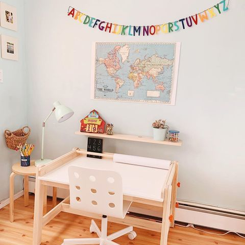 kids desk with paper roll