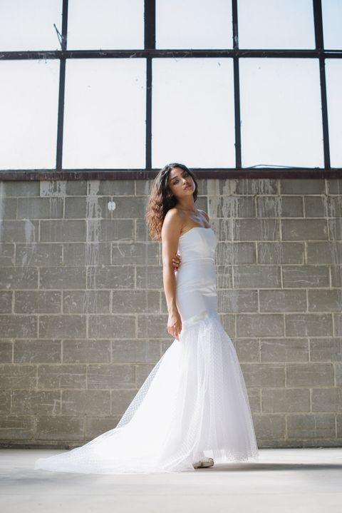 Gown, Wedding dress, Bride, Dress, Clothing, Photograph, Bridal clothing, White, Shoulder, Bridal party dress,