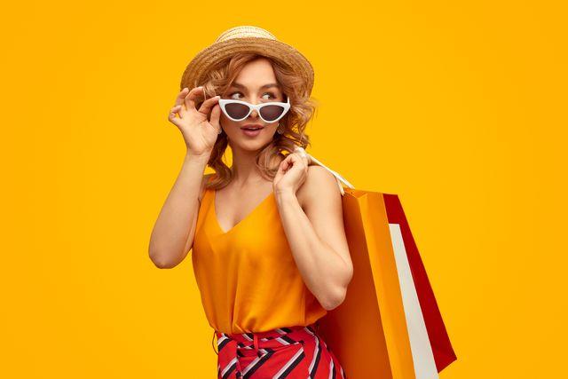 stylish shopaholic with purchases