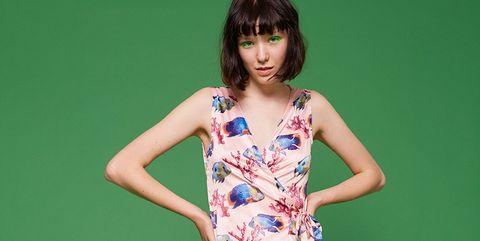 Clothing, Fashion model, Dress, Day dress, Shoulder, Photo shoot, Pattern, Neck, Photography, Fashion design,