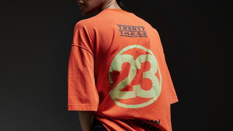 Clothing, T-shirt, Sleeve, Orange, Outerwear, Fashion, Font, Cool, Sportswear, Top,