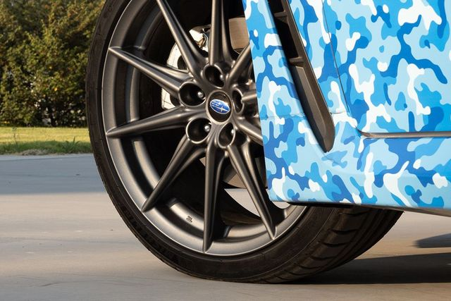 subaru brz front wheel with camouflaged body panel