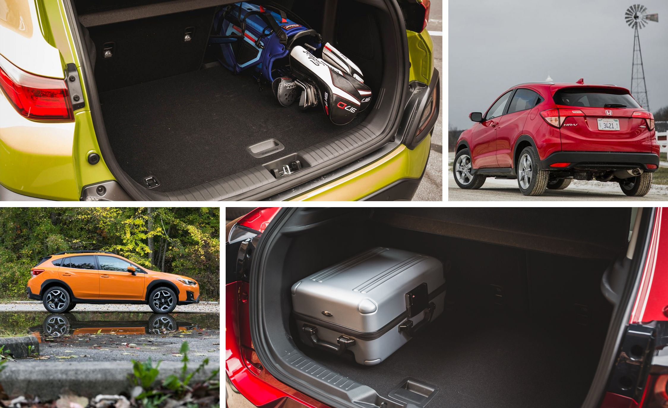 subcompact crossover and SUV cargo space rankings