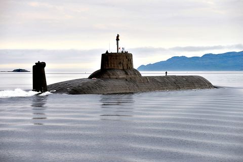 Submarine, Sea, Water, Ballistic missile submarine, Ocean, Sky, Coast, Rock, Vehicle, Wave,