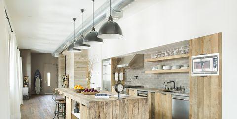 Room, Interior design, Property, Furniture, Building, Floor, Kitchen, Wood flooring, House, Wood,
