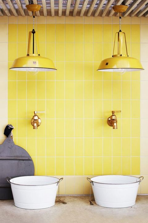 Yellow, Tile, Wall, Product, Room, Shelf, Bathroom, Ceiling, Floor, Interior design,