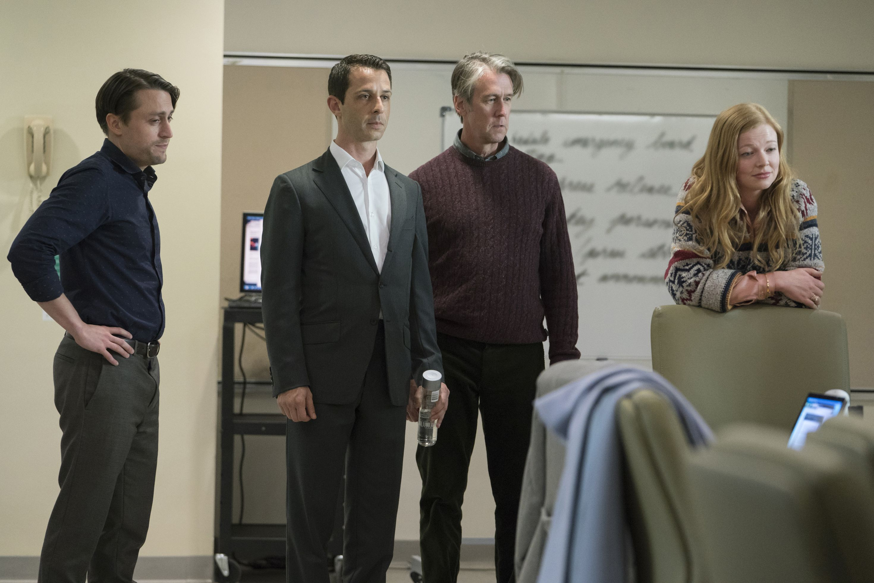 """Roman (from left), Kendall, Connor, and Siobhan Roy from """"Succession."""""""