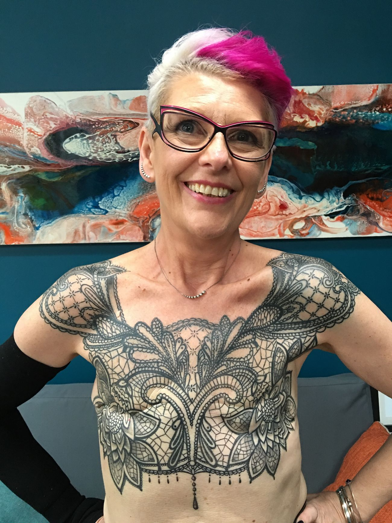 Woman Gets Chest Tattoo To Cover Her Mastectomy Scars While picking an awesome chest tattoo design from the endless possibilities may seem like an impossible task. chest tattoo to cover her mastectomy scars