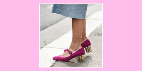 Footwear, Pink, Shoe, Purple, Violet, Magenta, Leg, Ankle, Mary jane, Street fashion,